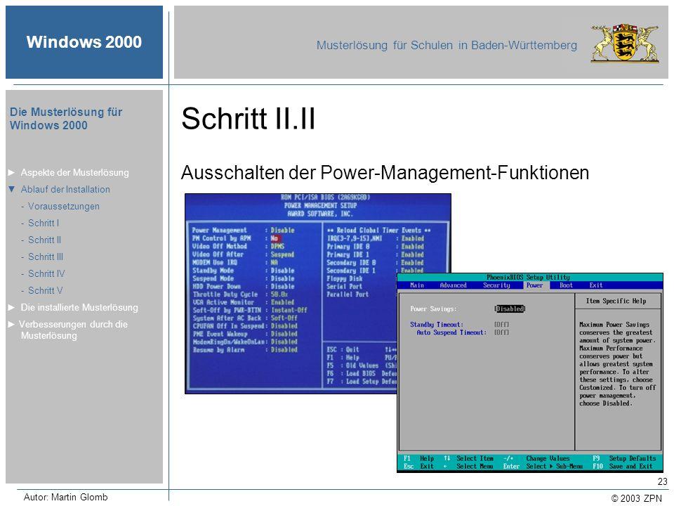 Schritt II.II Ausschalten der Power-Management-Funktionen