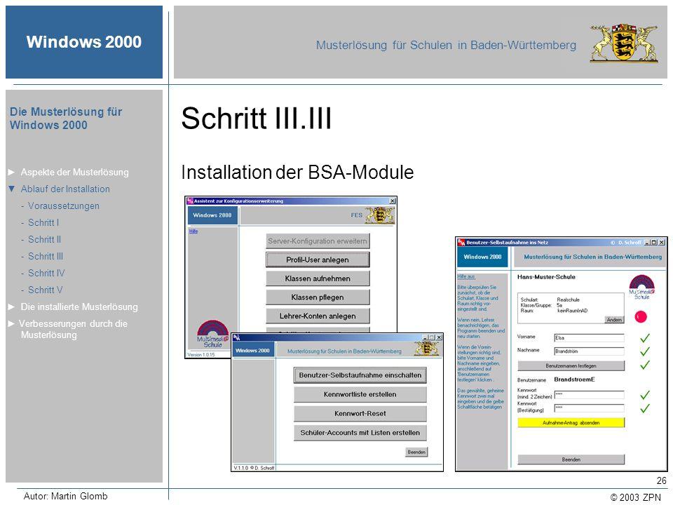 Schritt III.III Installation der BSA-Module ► Aspekte der Musterlösung