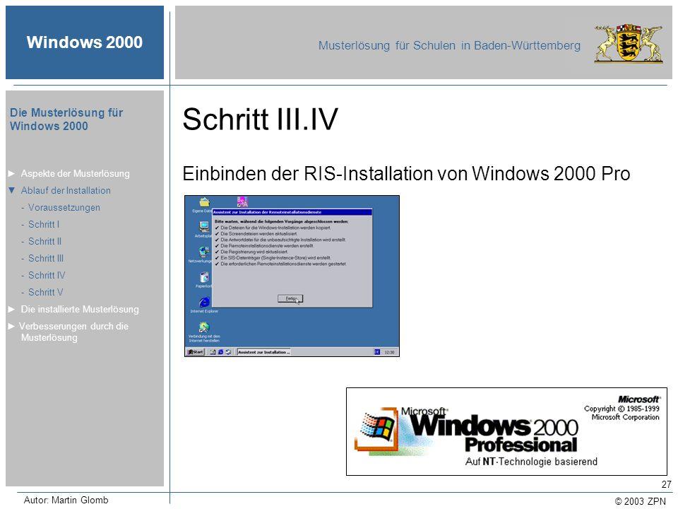 Schritt III.IV Einbinden der RIS-Installation von Windows 2000 Pro
