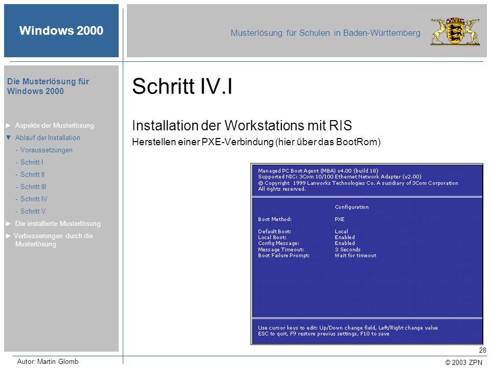 Schritt IV.I Installation der Workstations mit RIS