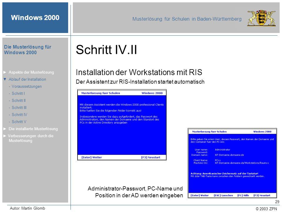 Schritt IV.II Installation der Workstations mit RIS