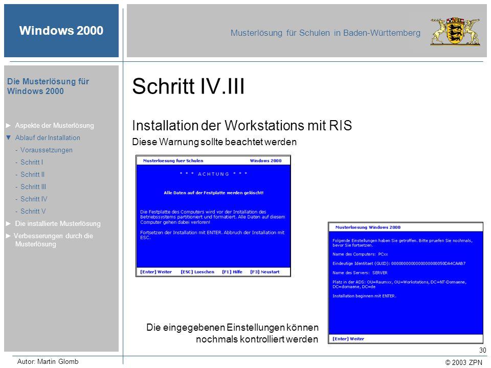 Schritt IV.III Installation der Workstations mit RIS