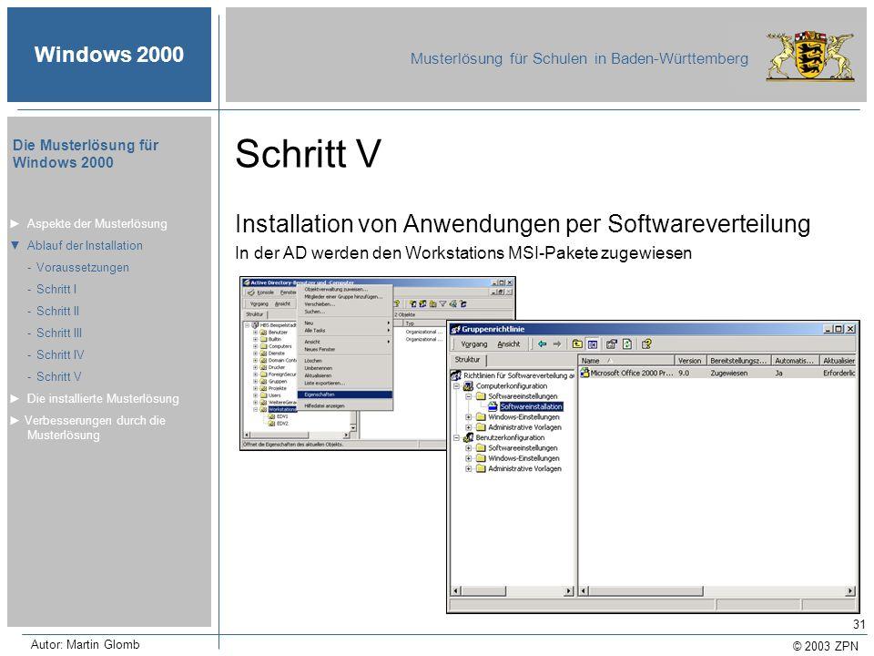 Schritt V Installation von Anwendungen per Softwareverteilung