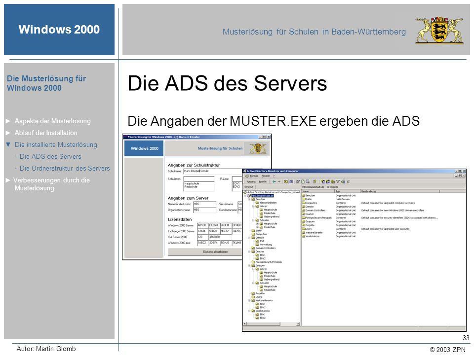 Die ADS des Servers Die Angaben der MUSTER.EXE ergeben die ADS