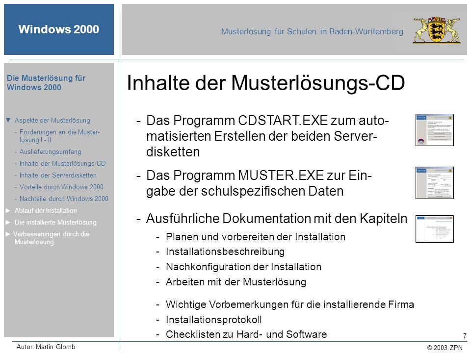 Inhalte der Musterlösungs-CD