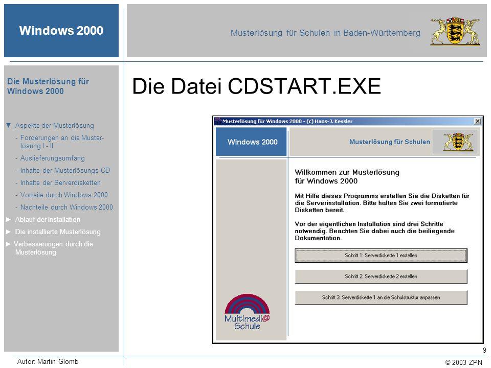 Die Datei CDSTART.EXE ▼ Aspekte der Musterlösung
