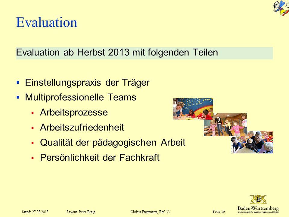 Evaluation Evaluation ab Herbst 2013 mit folgenden Teilen