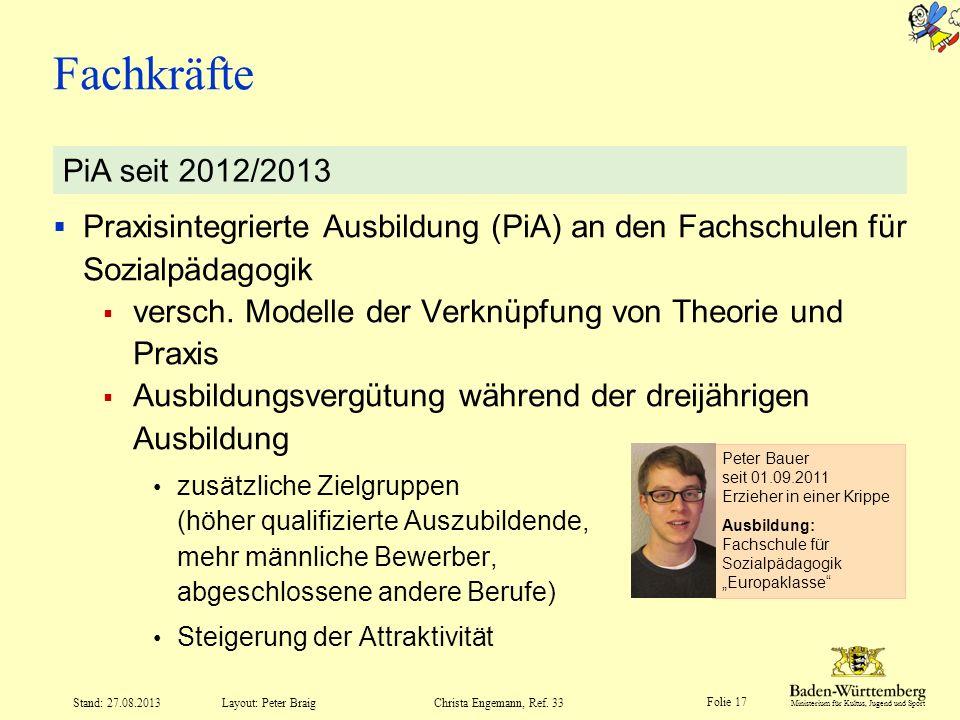 Fachkräfte PiA seit 2012/2013. Praxisintegrierte Ausbildung (PiA) an den Fachschulen für Sozialpädagogik.