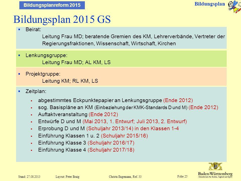 Bildungsplan 2015 GS Bildungsplan
