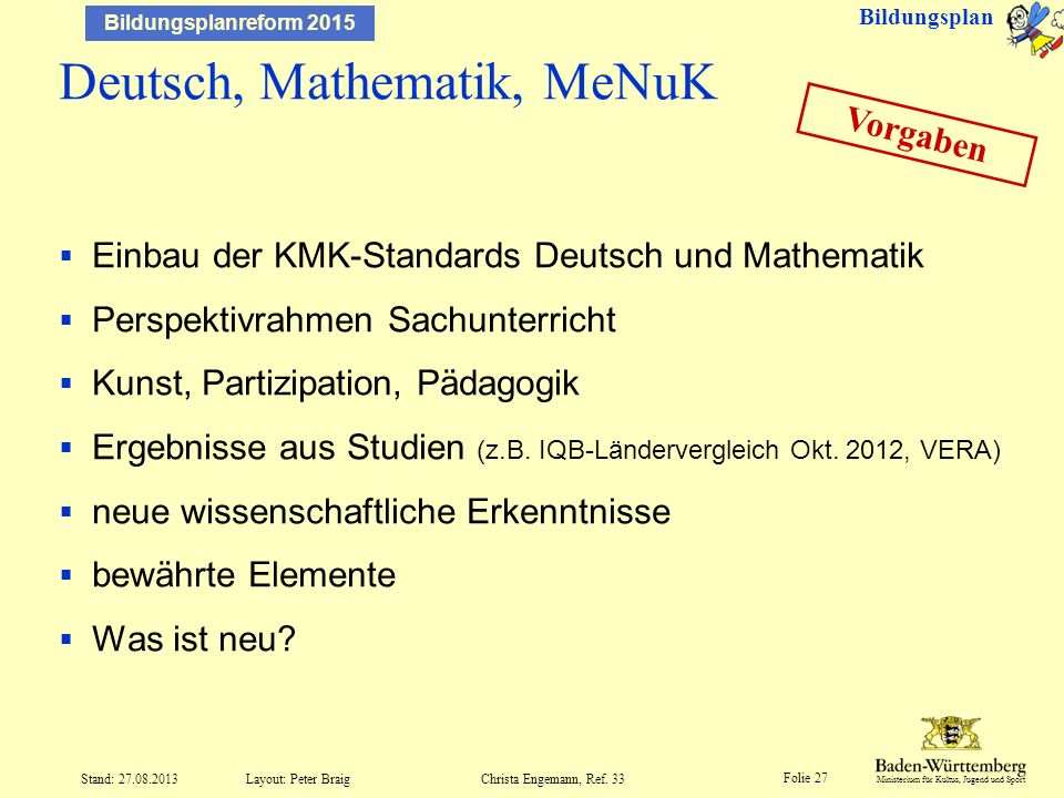 Deutsch, Mathematik, MeNuK