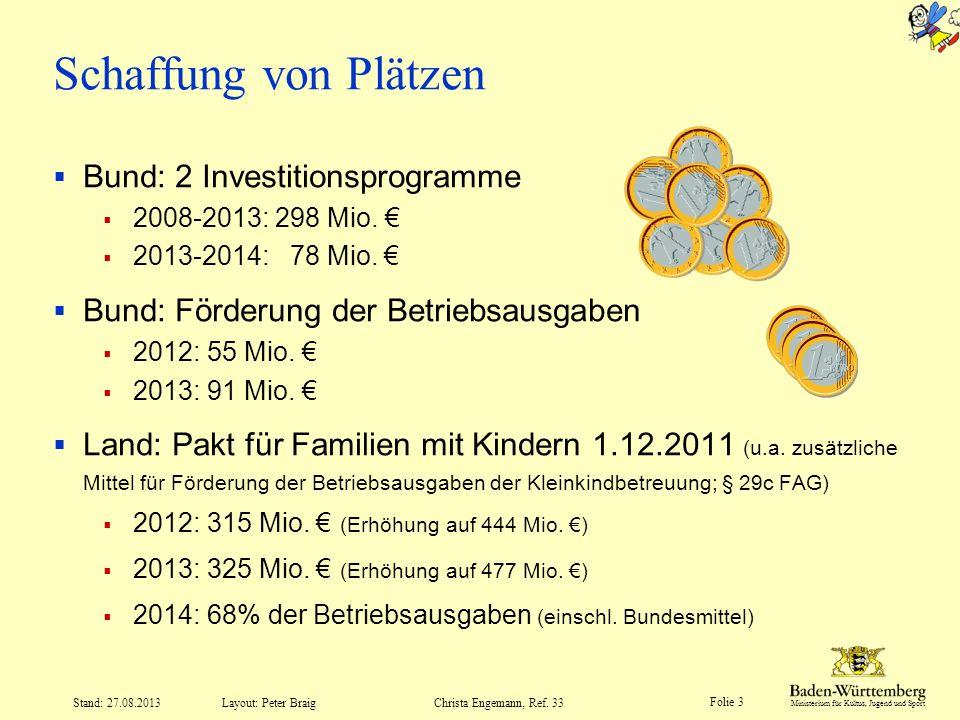 Schaffung von Plätzen Bund: 2 Investitionsprogramme