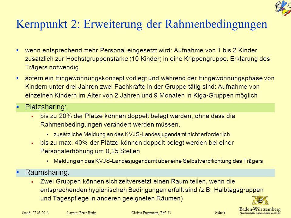 Kernpunkt 2: Erweiterung der Rahmenbedingungen