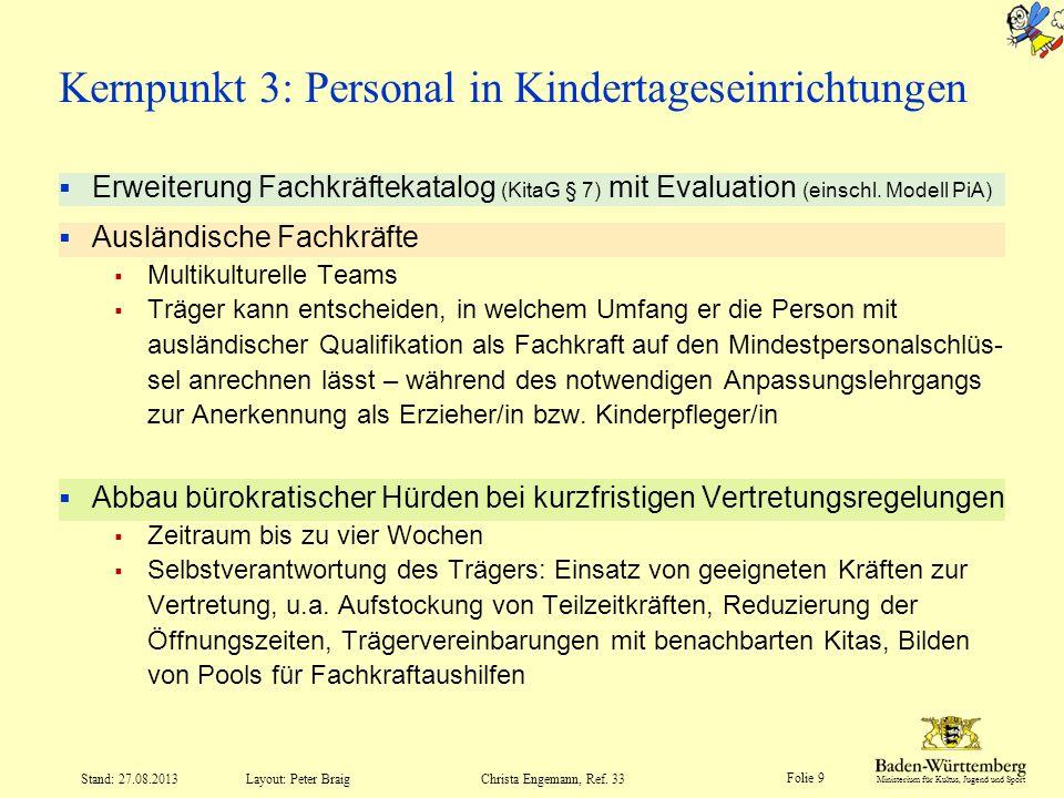 Kernpunkt 3: Personal in Kindertageseinrichtungen