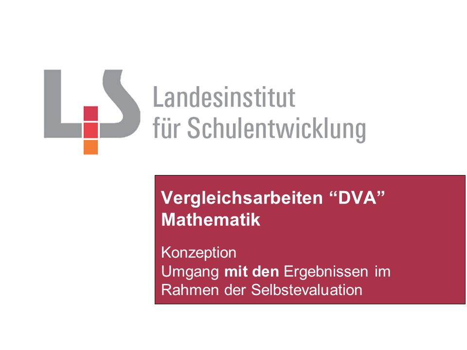 Vergleichsarbeiten DVA Mathematik