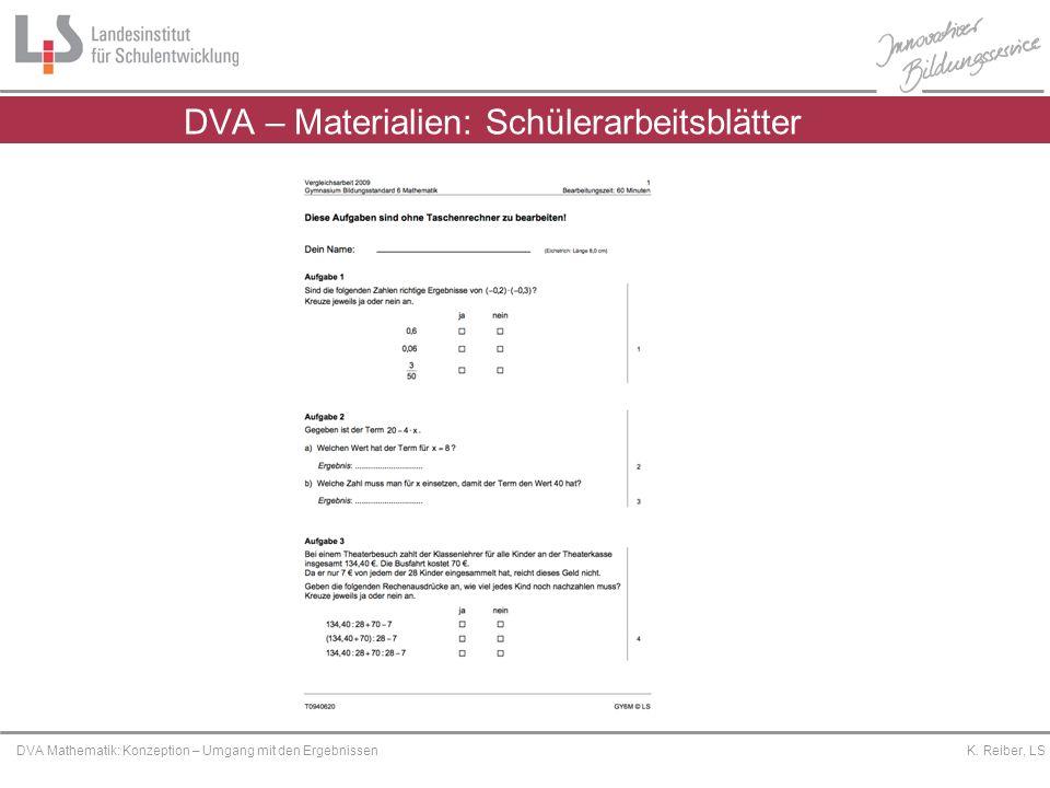 DVA – Materialien: Schülerarbeitsblätter