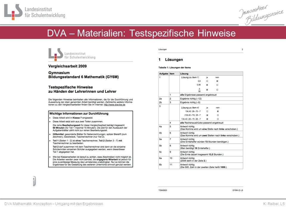 DVA – Materialien: Testspezifische Hinweise