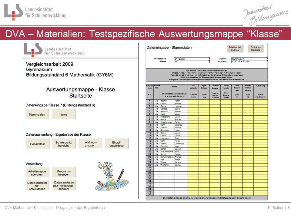 DVA – Materialien: Testspezifische Auswertungsmappe Klasse