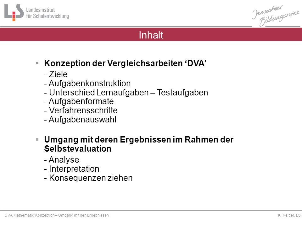 Inhalt Konzeption der Vergleichsarbeiten 'DVA'