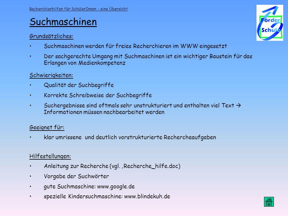 Suchmaschinen Grundsätzliches: