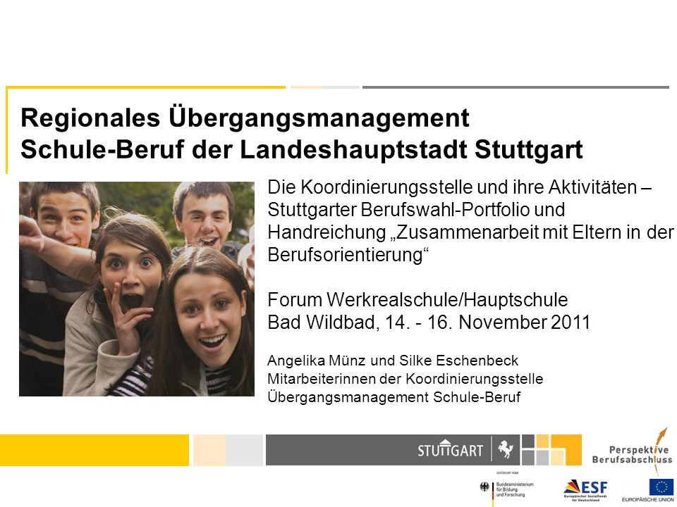 Regionales Übergangsmanagement Schule-Beruf der Landeshauptstadt Stuttgart