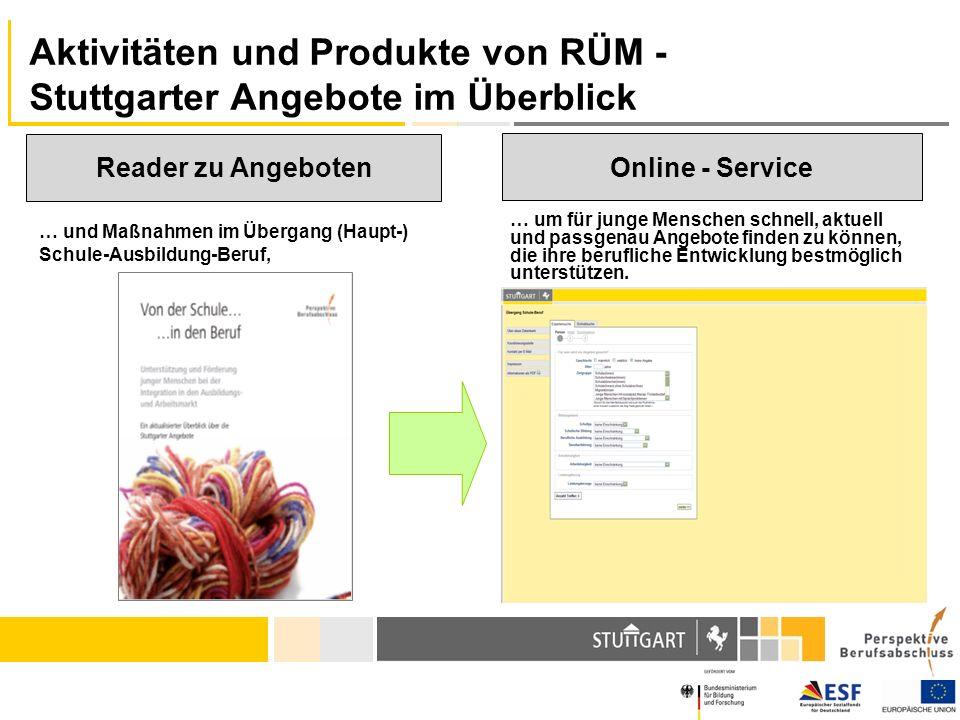 Aktivitäten und Produkte von RÜM - Stuttgarter Angebote im Überblick