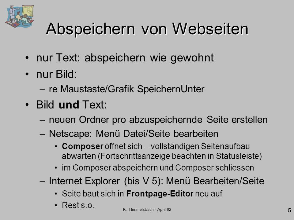 Abspeichern von Webseiten