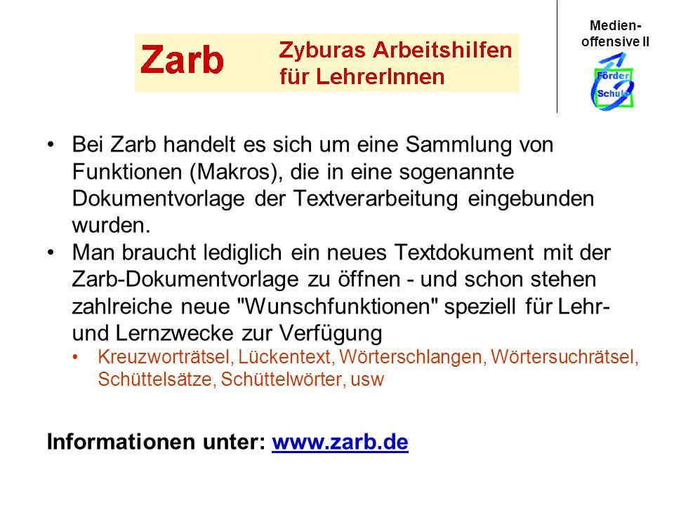 Informationen unter: www.zarb.de