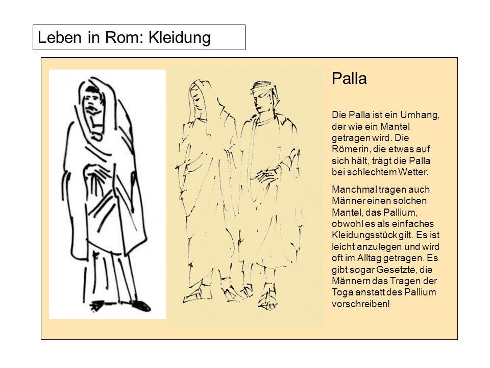 PallaDie Palla ist ein Umhang, der wie ein Mantel getragen wird. Die Römerin, die etwas auf sich hält, trägt die Palla bei schlechtem Wetter.