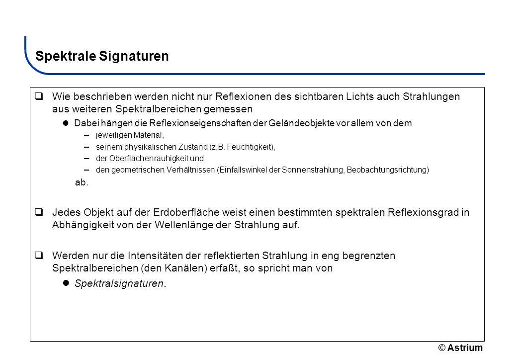 Spektrale SignaturenWie beschrieben werden nicht nur Reflexionen des sichtbaren Lichts auch Strahlungen aus weiteren Spektralbereichen gemessen.