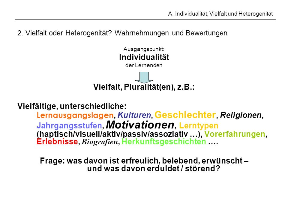 A. Individualität, Vielfalt und Heterogenität