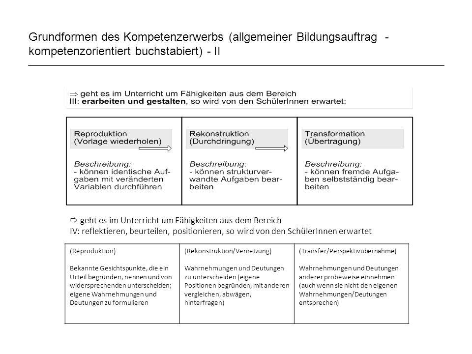 Grundformen des Kompetenzerwerbs (allgemeiner Bildungsauftrag - kompetenzorientiert buchstabiert) - II