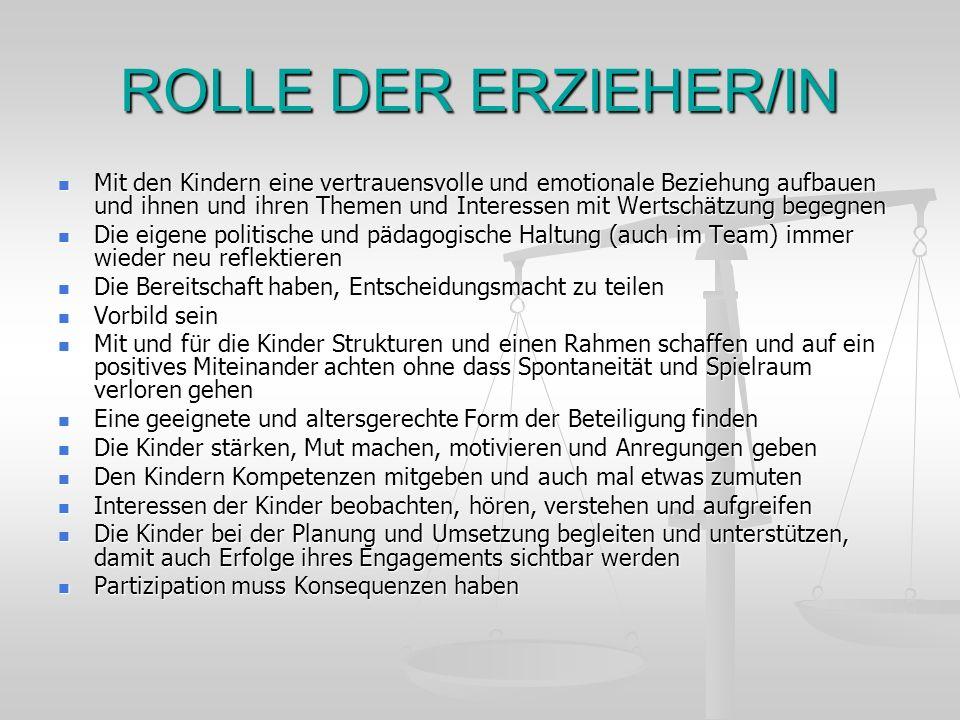 ROLLE DER ERZIEHER/IN