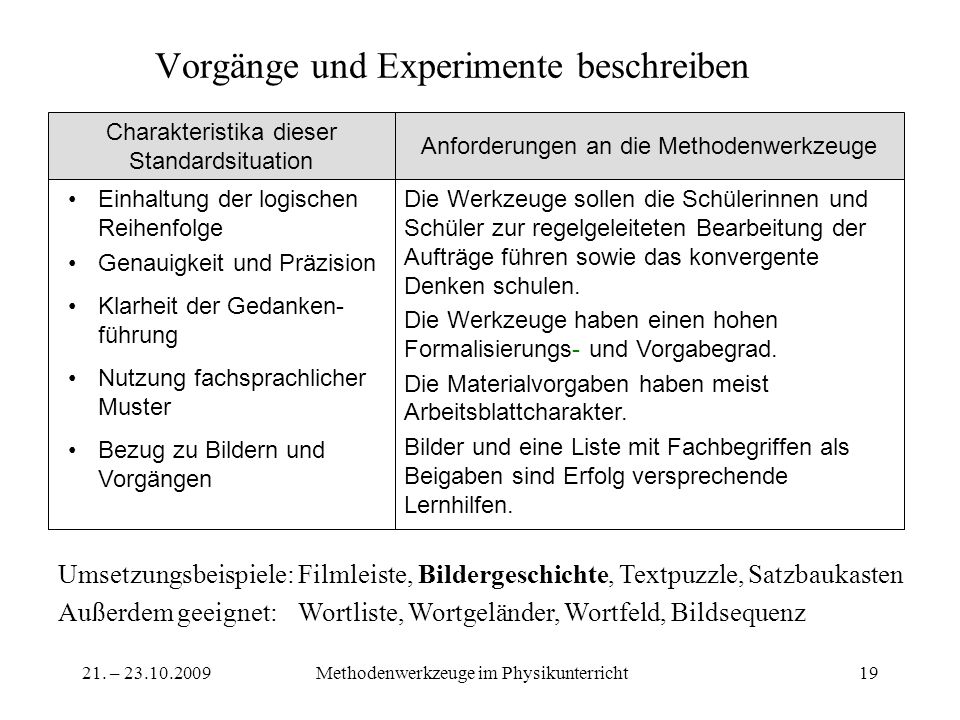 Vorgänge und Experimente beschreiben