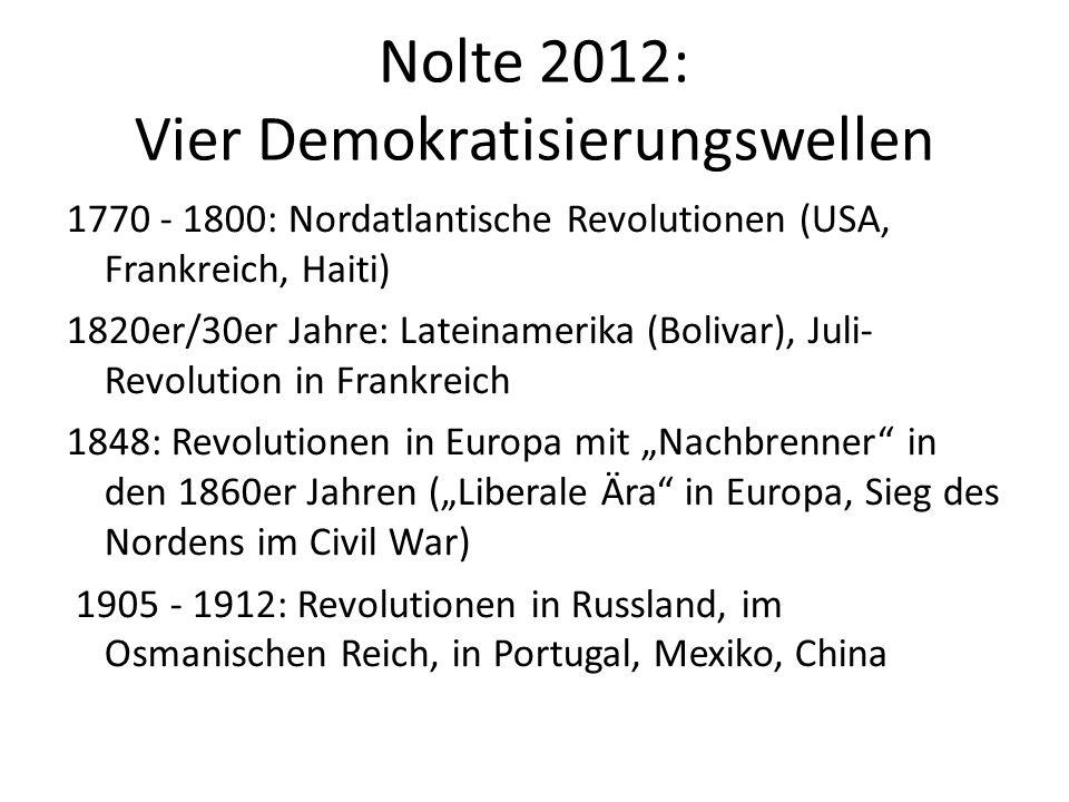 Nolte 2012: Vier Demokratisierungswellen