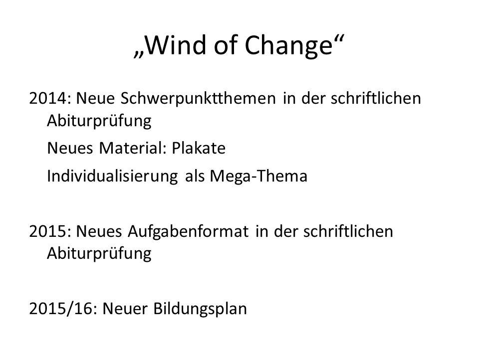 """""""Wind of Change 2014: Neue Schwerpunktthemen in der schriftlichen Abiturprüfung. Neues Material: Plakate."""