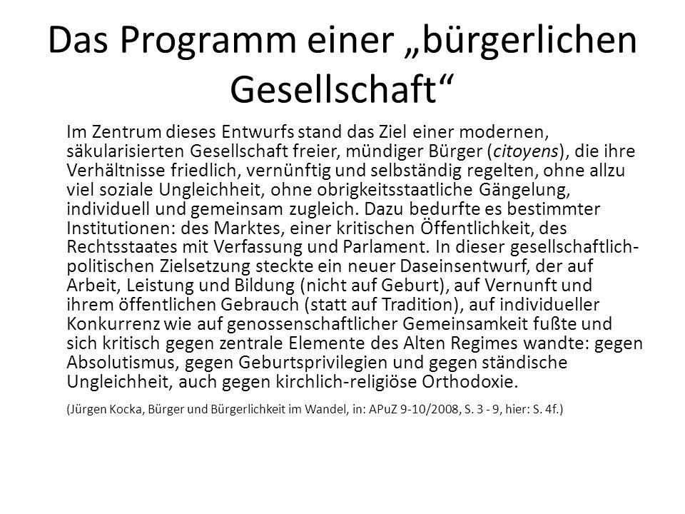 """Das Programm einer """"bürgerlichen Gesellschaft"""