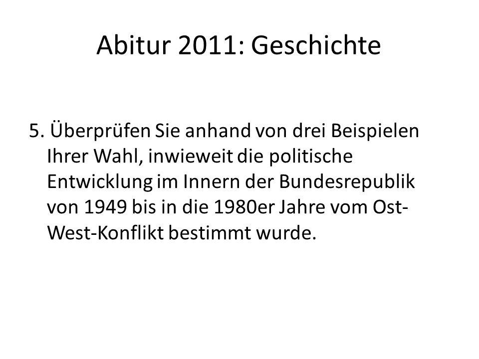 Abitur 2011: Geschichte