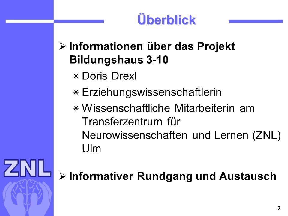 Überblick Informationen über das Projekt Bildungshaus 3-10 Doris Drexl