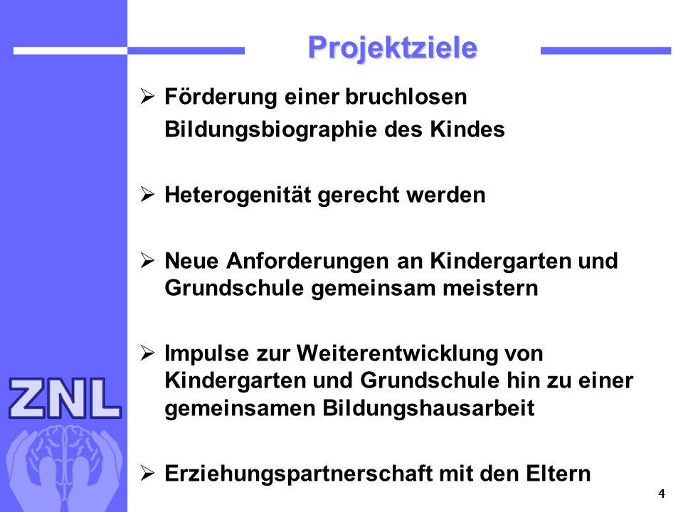 Projektziele Förderung einer bruchlosen Bildungsbiographie des Kindes