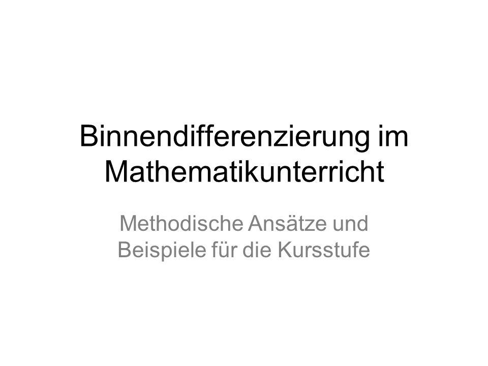Binnendifferenzierung im Mathematikunterricht
