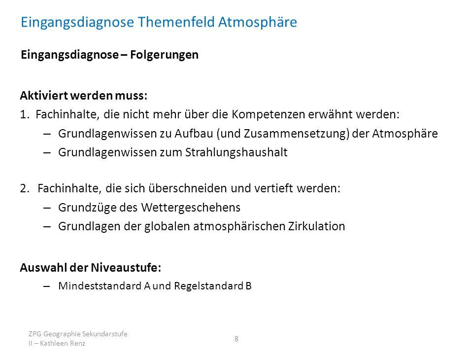 Eingangsdiagnose Themenfeld Atmosphäre Eingangsdiagnose – Folgerungen