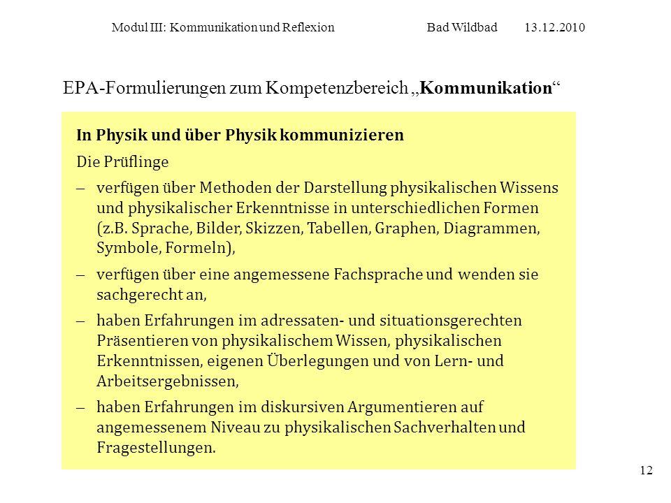 """EPA-Formulierungen zum Kompetenzbereich """"Kommunikation"""