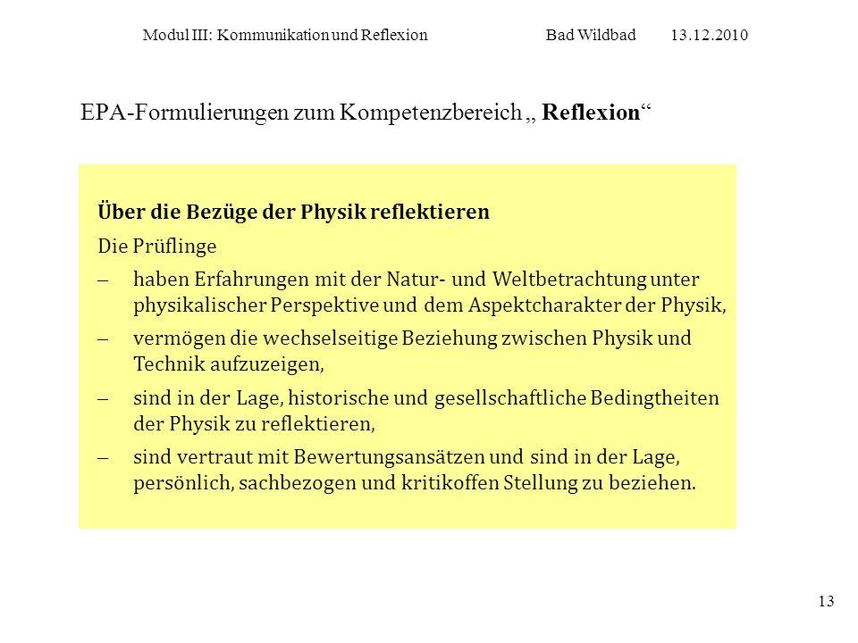 """EPA-Formulierungen zum Kompetenzbereich """" Reflexion"""