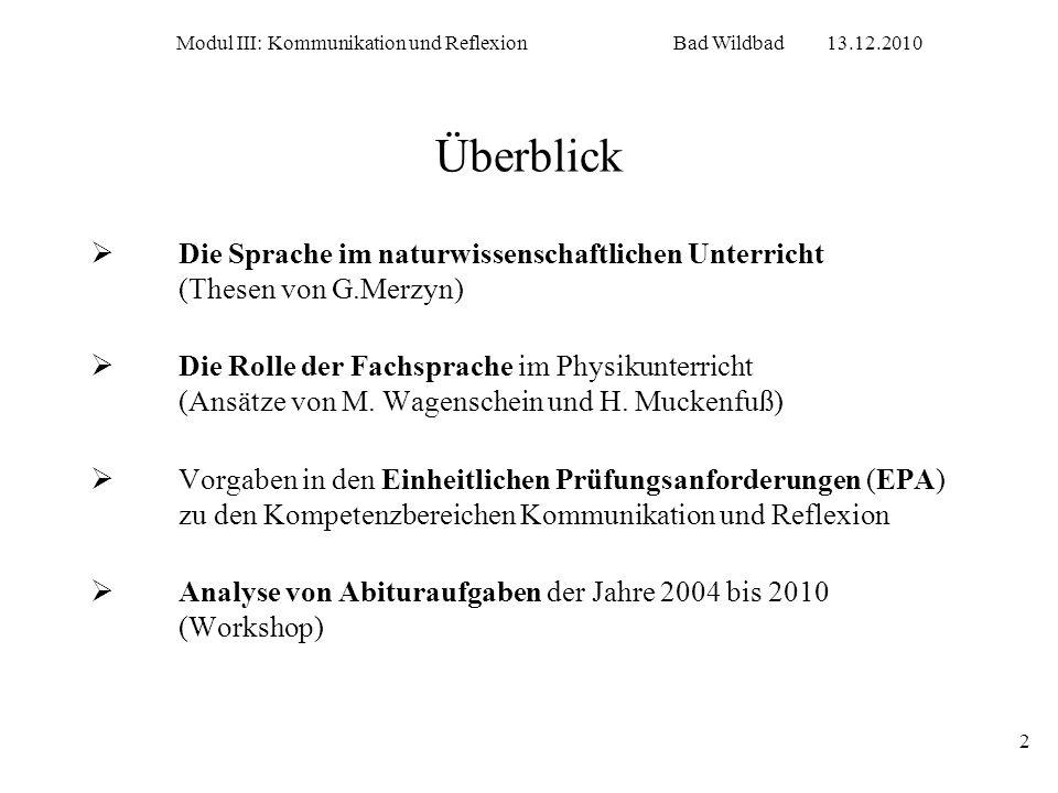 Modul III: Kommunikation und Reflexion Bad Wildbad 13.12.2010