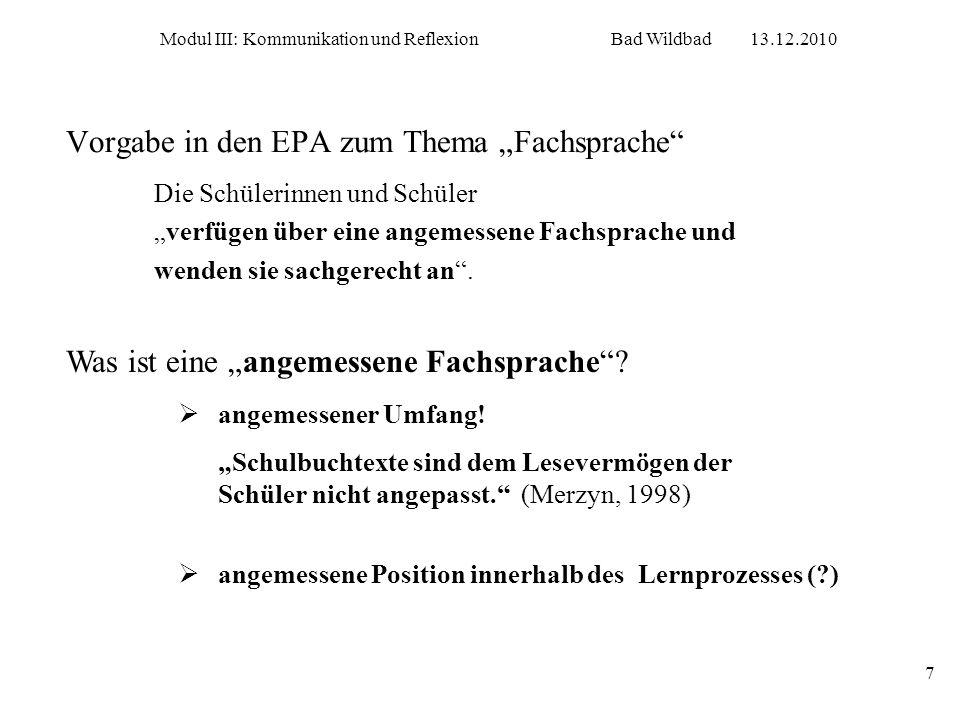 """Vorgabe in den EPA zum Thema """"Fachsprache"""
