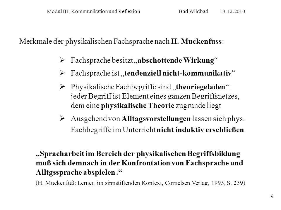 Merkmale der physikalischen Fachsprache nach H. Muckenfuss: