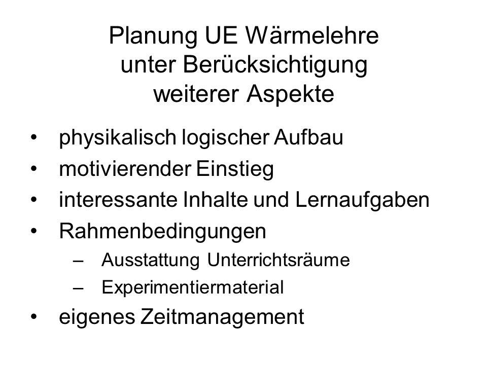 Planung UE Wärmelehre unter Berücksichtigung weiterer Aspekte