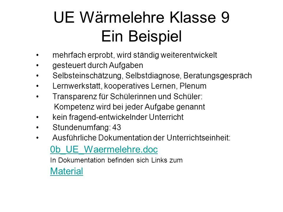 UE Wärmelehre Klasse 9 Ein Beispiel