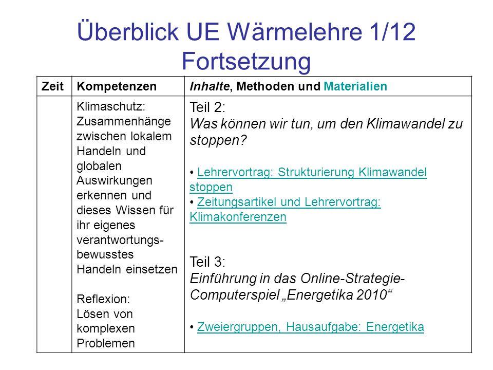 Überblick UE Wärmelehre 1/12 Fortsetzung