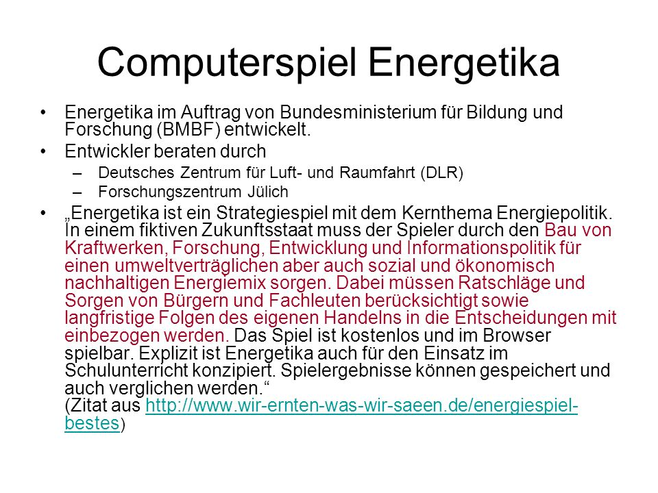 Computerspiel Energetika